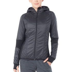 Icebreaker Helix LS Zip Hood Jacket Women Black/Jet Heather